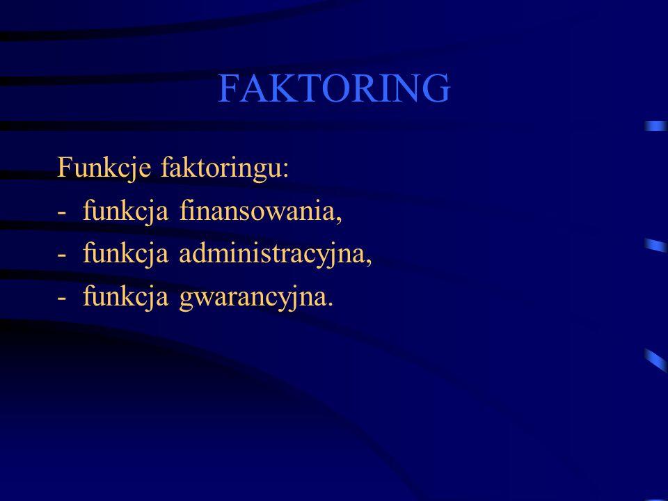 FAKTORING Funkcje faktoringu: funkcja finansowania,