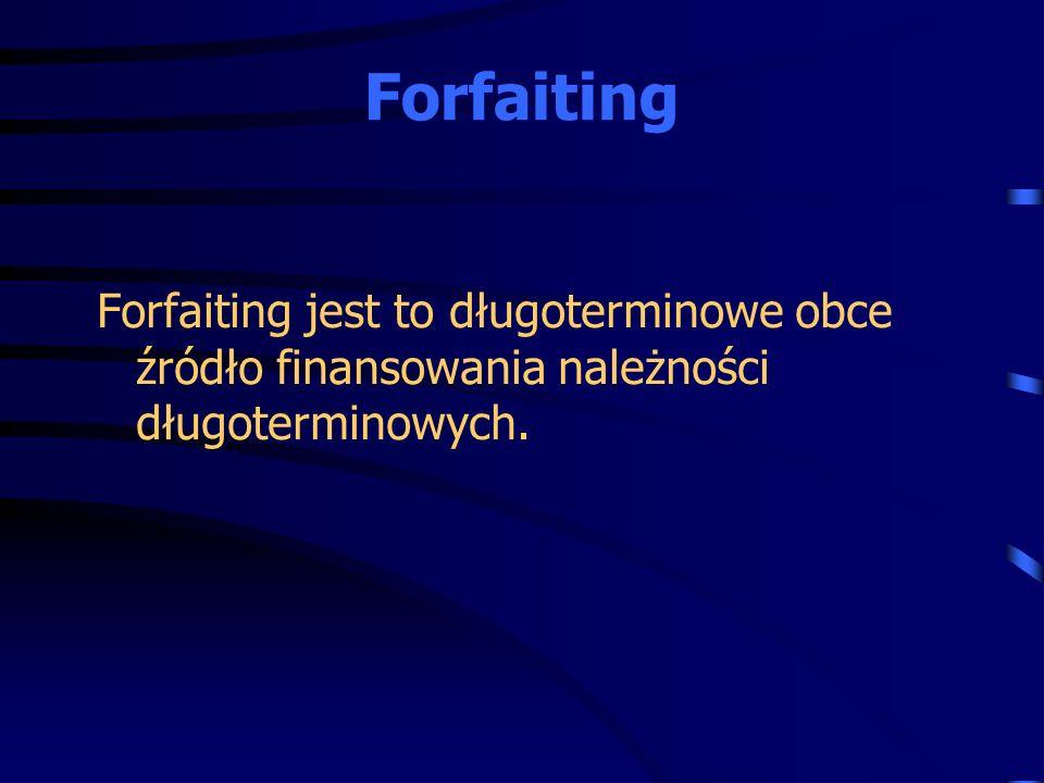 Forfaiting Forfaiting jest to długoterminowe obce źródło finansowania należności długoterminowych.