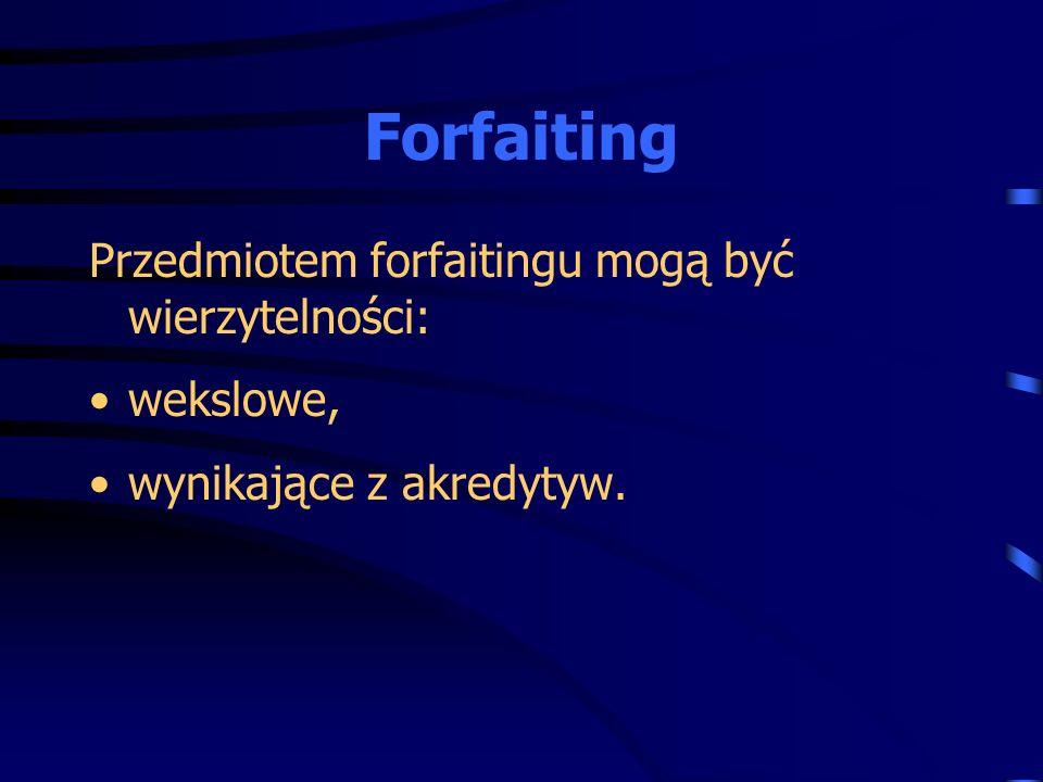Forfaiting Przedmiotem forfaitingu mogą być wierzytelności: wekslowe,