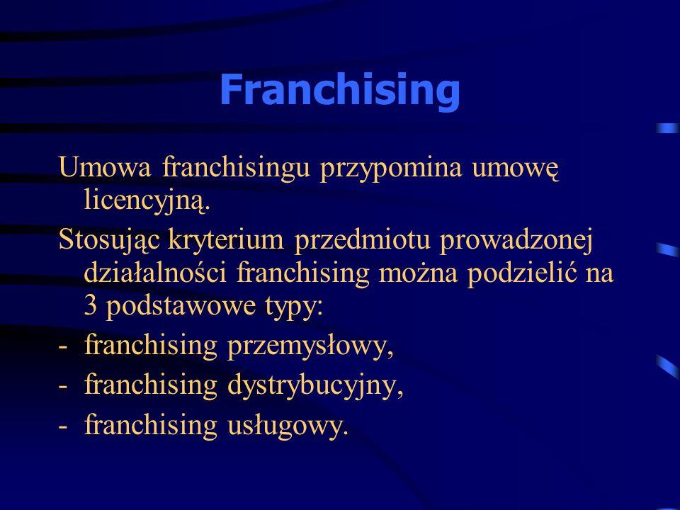 Franchising Umowa franchisingu przypomina umowę licencyjną.