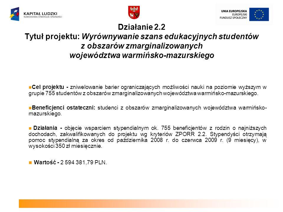Działanie 2.2 Tytuł projektu: Wyrównywanie szans edukacyjnych studentów z obszarów zmarginalizowanych województwa warmińsko-mazurskiego