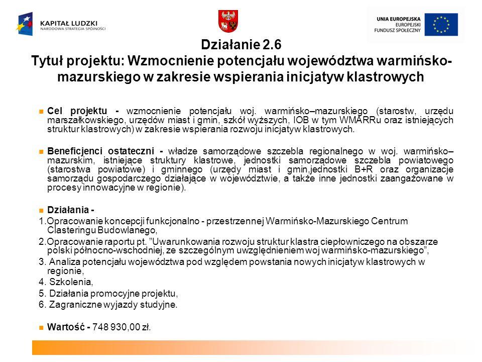 Działanie 2.6 Tytuł projektu: Wzmocnienie potencjału województwa warmińsko-mazurskiego w zakresie wspierania inicjatyw klastrowych