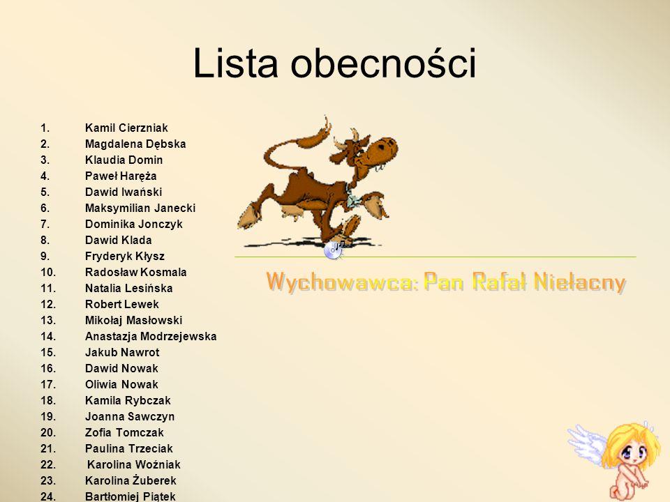 Wychowawca: Pan Rafał Niełacny