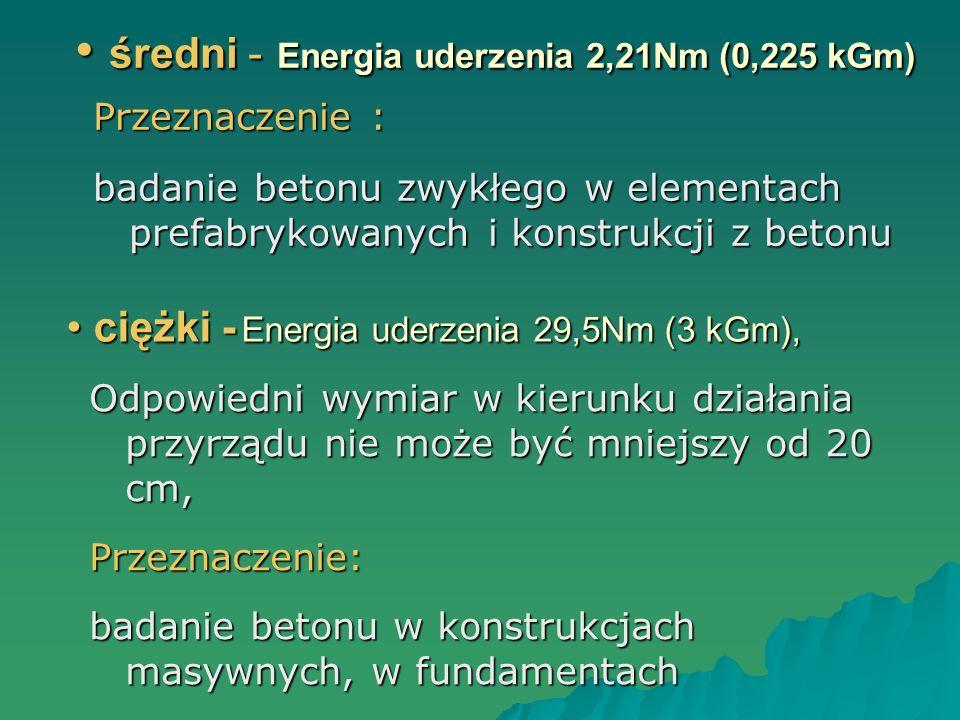 średni - Energia uderzenia 2,21Nm (0,225 kGm)