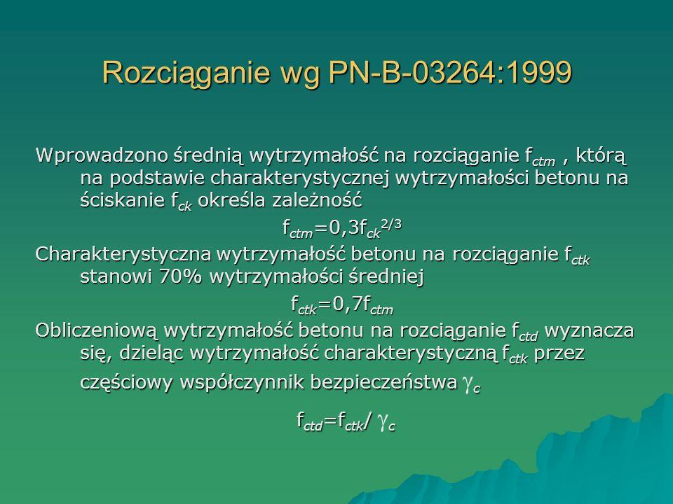 Rozciąganie wg PN-B-03264:1999