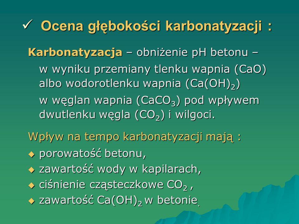 Ocena głębokości karbonatyzacji :