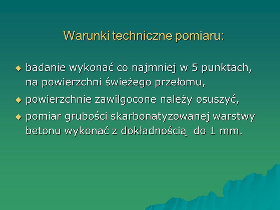 Warunki techniczne pomiaru: