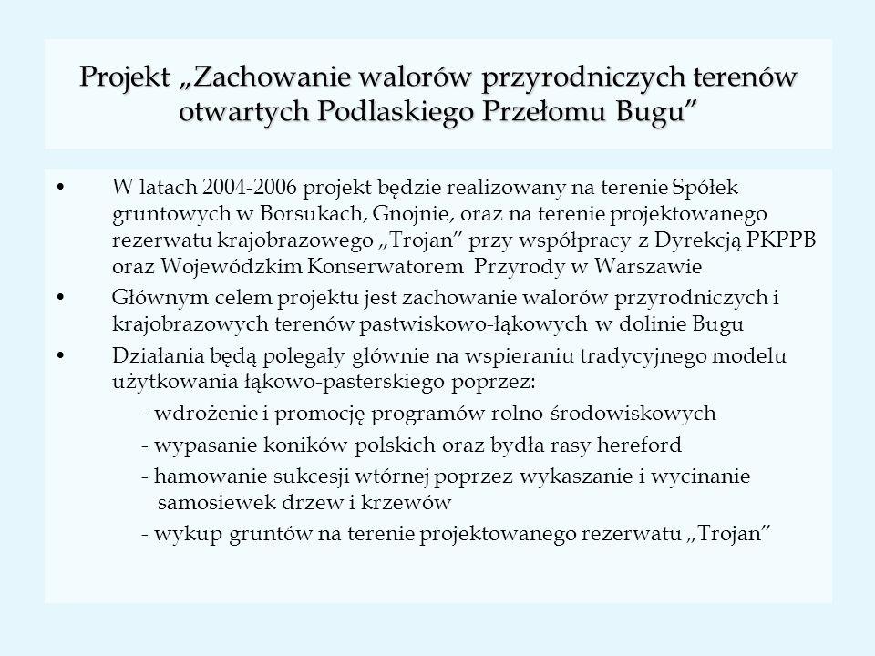 """Projekt """"Zachowanie walorów przyrodniczych terenów otwartych Podlaskiego Przełomu Bugu"""