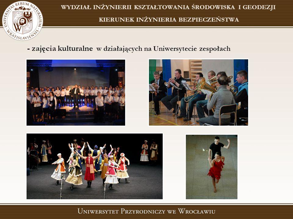 - zajęcia kulturalne w działających na Uniwersytecie zespołach