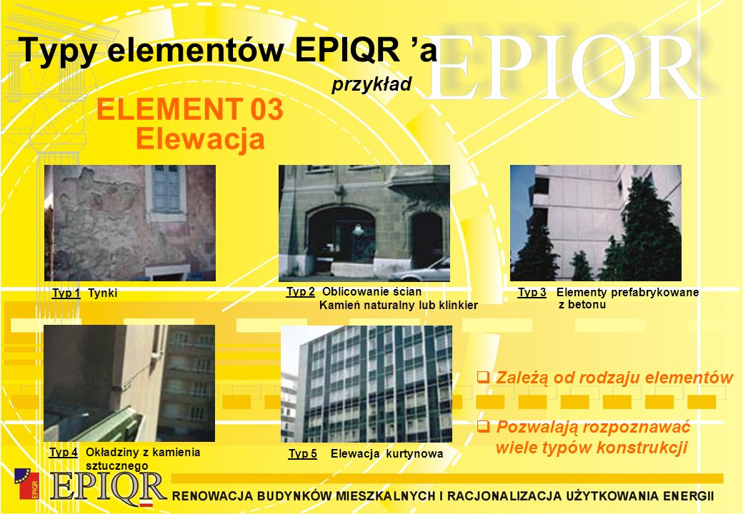 Typy elementów EPIQR 'a