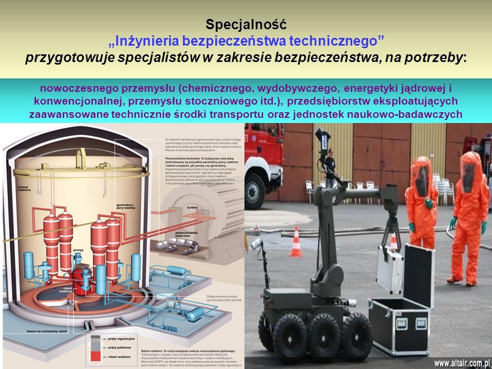 """Specjalność """"Inżynieria bezpieczeństwa technicznego przygotowuje specjalistów w zakresie bezpieczeństwa, na potrzeby:"""