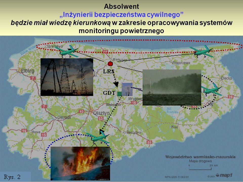 """Absolwent """"Inżynierii bezpieczeństwa cywilnego będzie miał wiedzę kierunkową w zakresie opracowywania systemów monitoringu powietrznego w zakresie:"""
