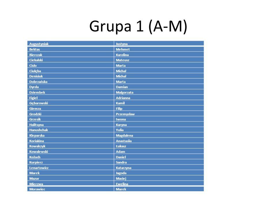 Grupa 1 (A-M) Augustyniak Justyna Bektas Mehmet Bierczak Karolina