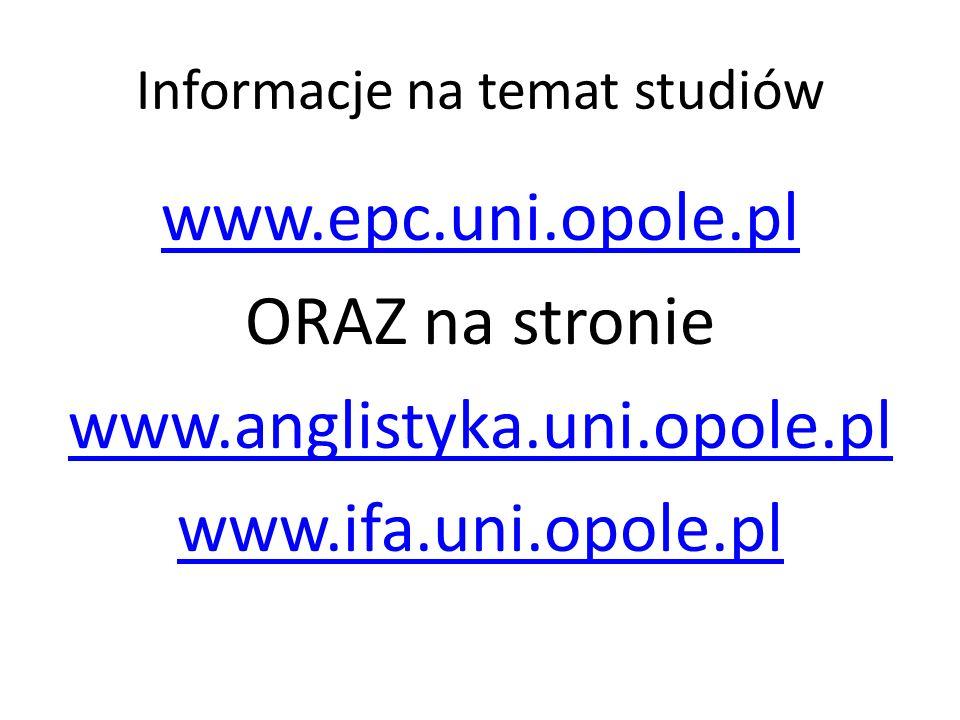 Informacje na temat studiów