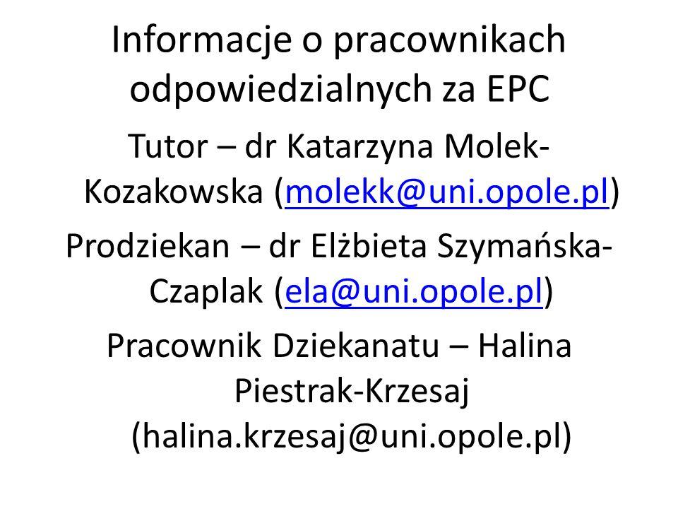 Informacje o pracownikach odpowiedzialnych za EPC