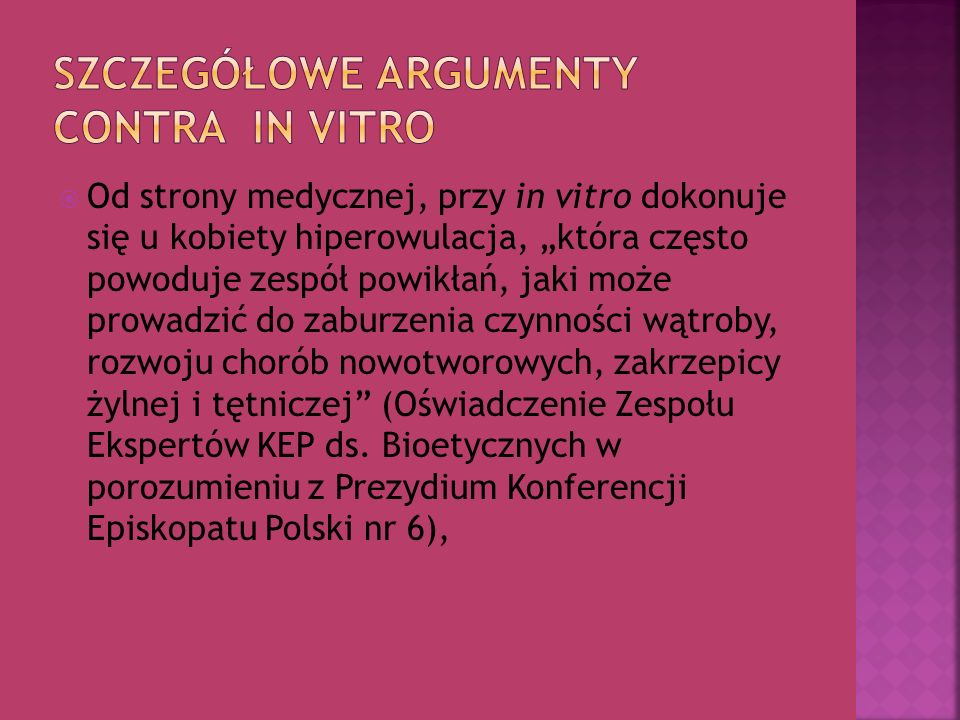 Szczegółowe argumenty contra in vitro