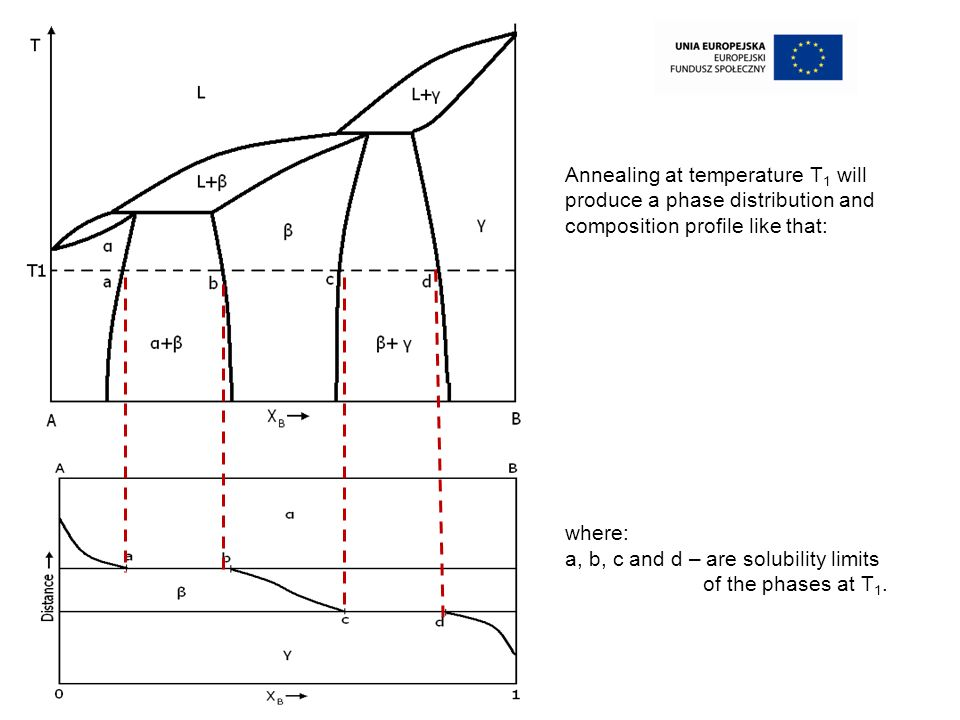 Annealing at temperature T1 will produce a phase distribution and composition profile like that: