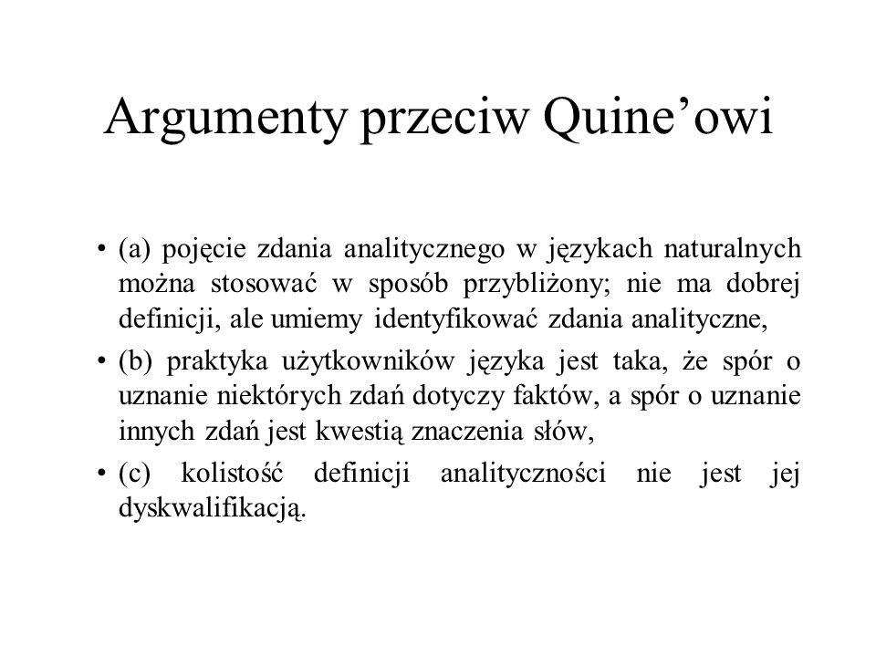 Argumenty przeciw Quine'owi