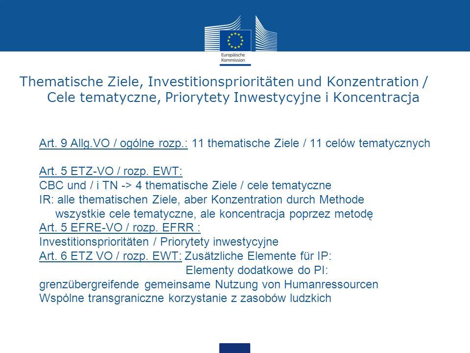 Thematische Ziele, Investitionsprioritäten und Konzentration / Cele tematyczne, Priorytety Inwestycyjne i Koncentracja