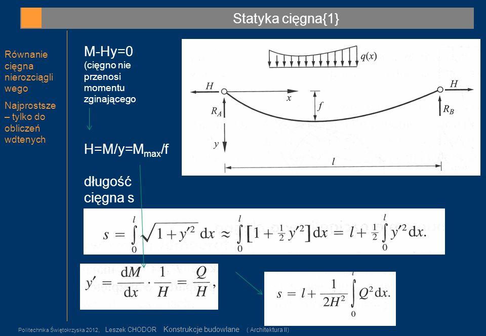 Statyka cięgna{1} M-Hy=0 H=M/y=Mmax/f długość cięgna s