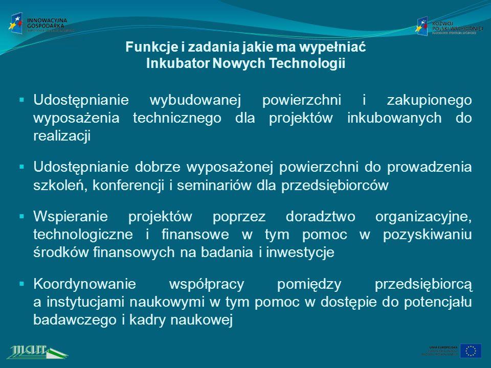 Funkcje i zadania jakie ma wypełniać Inkubator Nowych Technologii