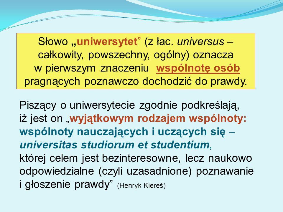 """Słowo """"uniwersytet (z łac"""
