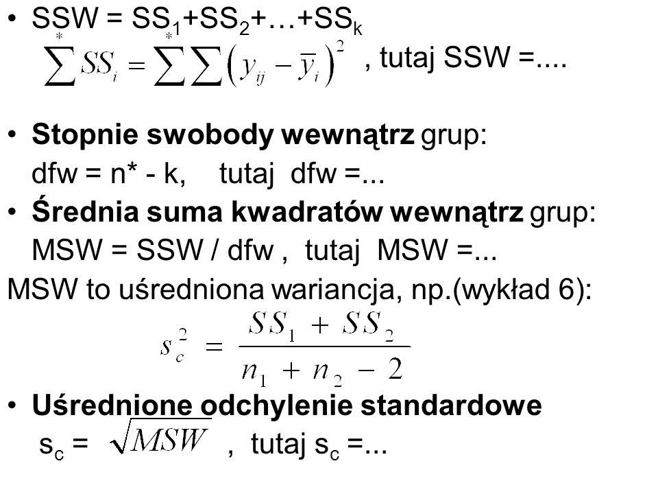 SSW = SS1+SS2+…+SSk , tutaj SSW =.... Stopnie swobody wewnątrz grup: dfw = n* - k, tutaj dfw =...