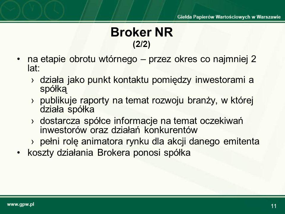 Broker NR (2/2) na etapie obrotu wtórnego – przez okres co najmniej 2 lat: działa jako punkt kontaktu pomiędzy inwestorami a spółką.