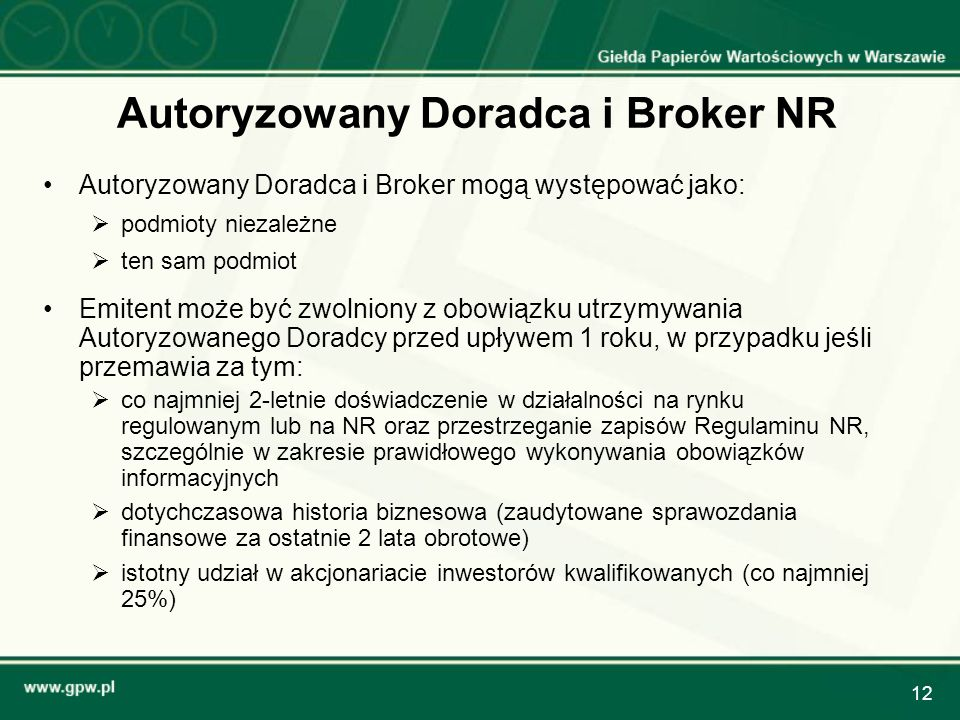 Autoryzowany Doradca i Broker NR