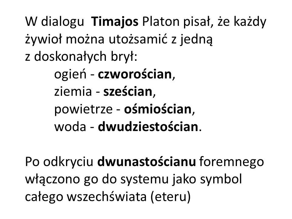 W dialogu Timajos Platon pisał, że każdy żywioł można utożsamić z jedną z doskonałych brył: