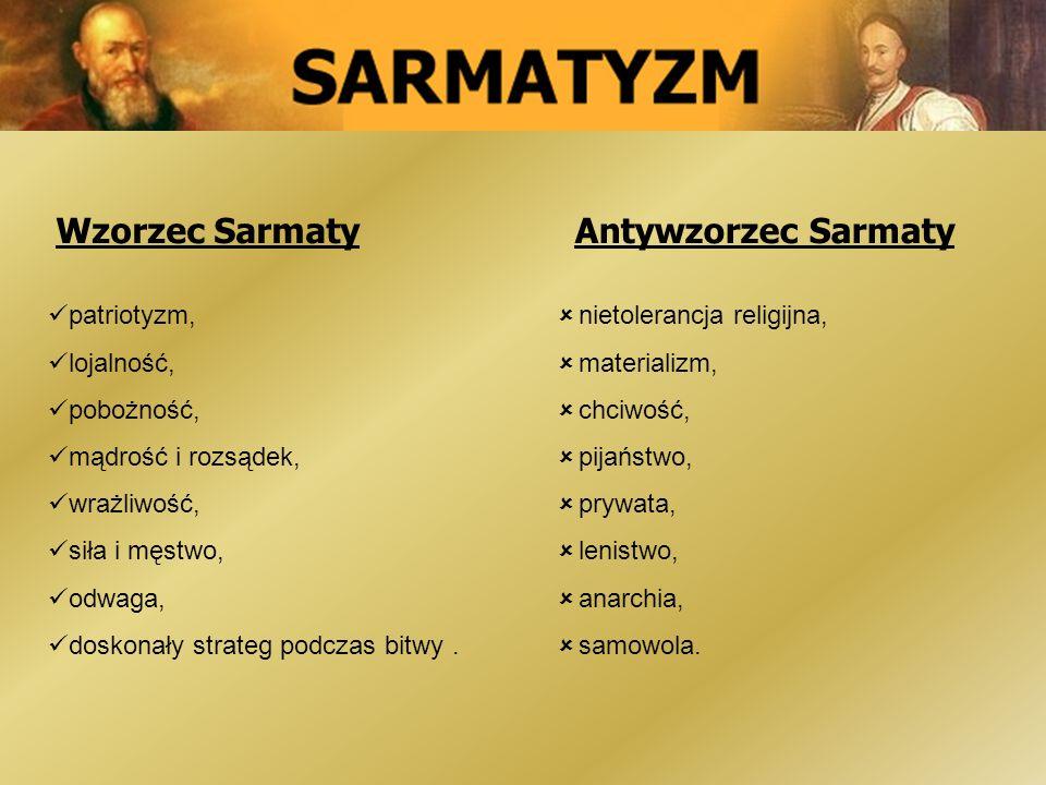Wzorzec Sarmaty Antywzorzec Sarmaty patriotyzm, lojalność, pobożność,