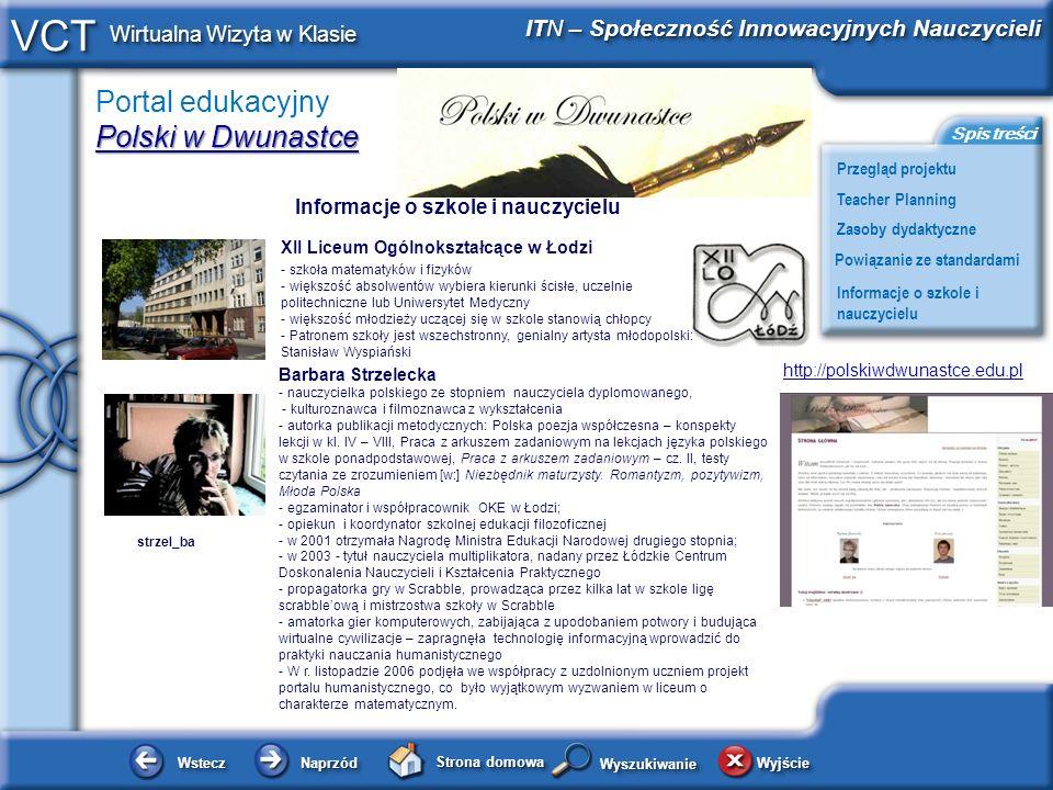 Barbara Strzelecka Informacje o szkole i nauczycielu