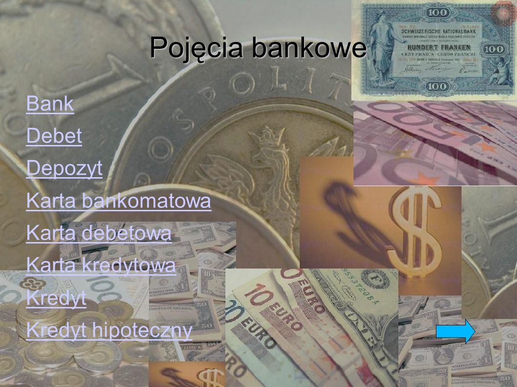 Pojęcia bankowe Bank Debet Depozyt Karta bankomatowa Karta debetowa