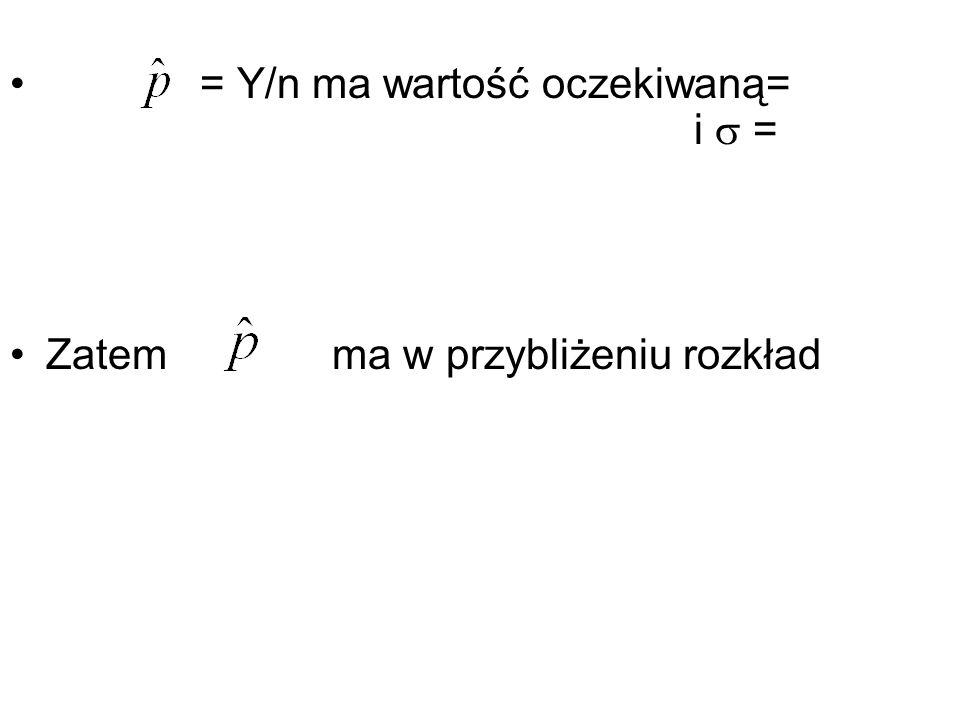 = Y/n ma wartość oczekiwaną= i  =