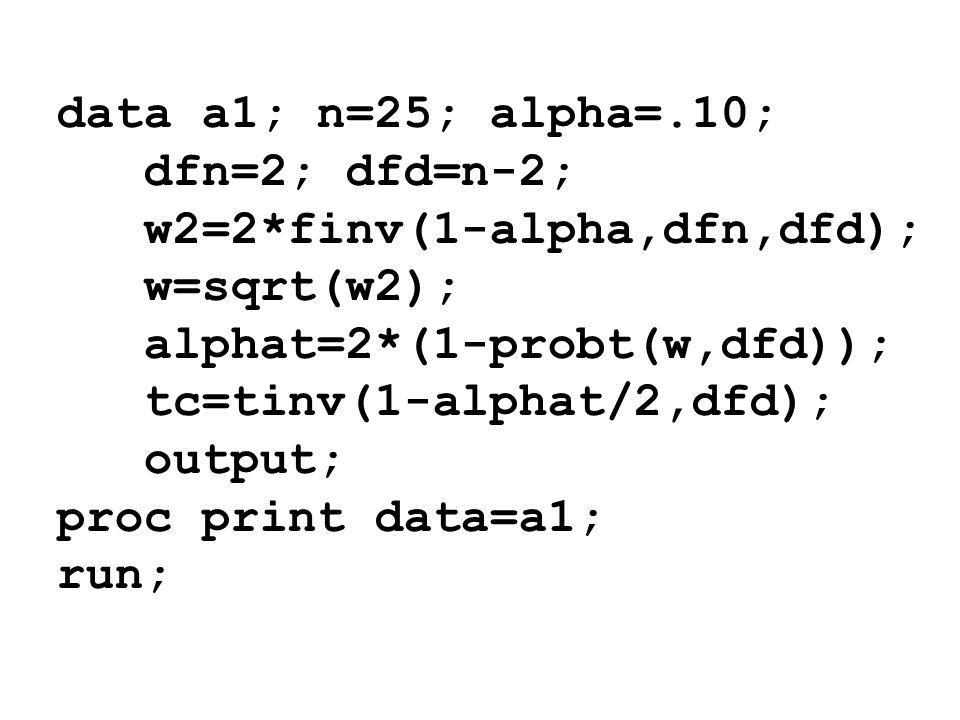 data a1; n=25; alpha=.10; dfn=2; dfd=n-2; w2=2*finv(1-alpha,dfn,dfd); w=sqrt(w2); alphat=2*(1-probt(w,dfd));