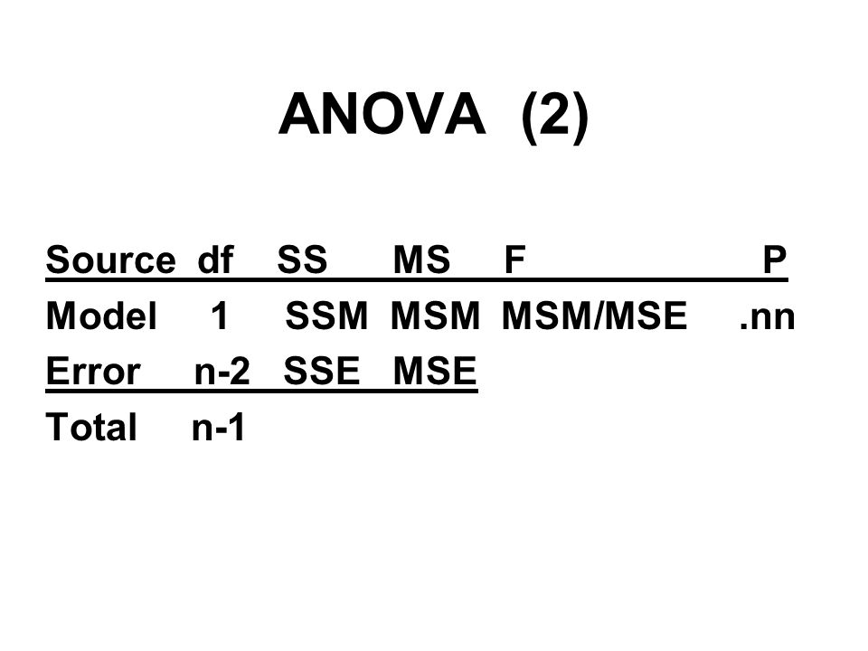 ANOVA (2) Source df SS MS F P Model 1 SSM MSM MSM/MSE .nn