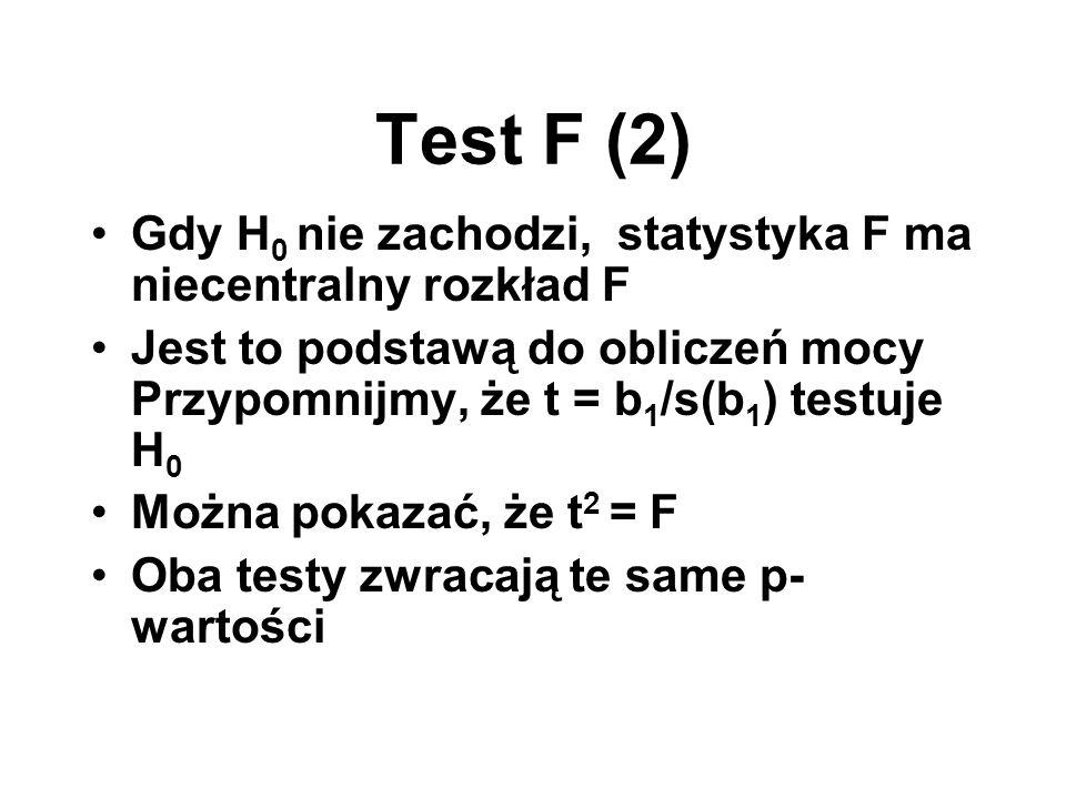 Test F (2) Gdy H0 nie zachodzi, statystyka F ma niecentralny rozkład F