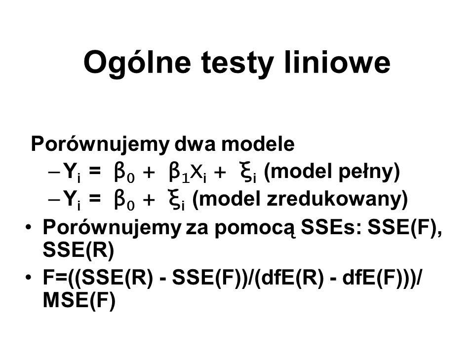 Ogólne testy liniowe Porównujemy dwa modele