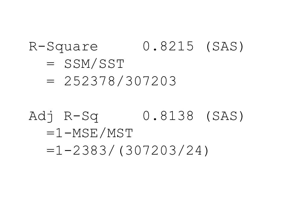 R-Square 0.8215 (SAS) = SSM/SST. = 252378/307203.