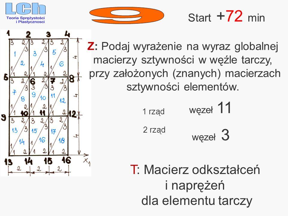 9 T: Macierz odkształceń i naprężeń dla elementu tarczy Start +72 min