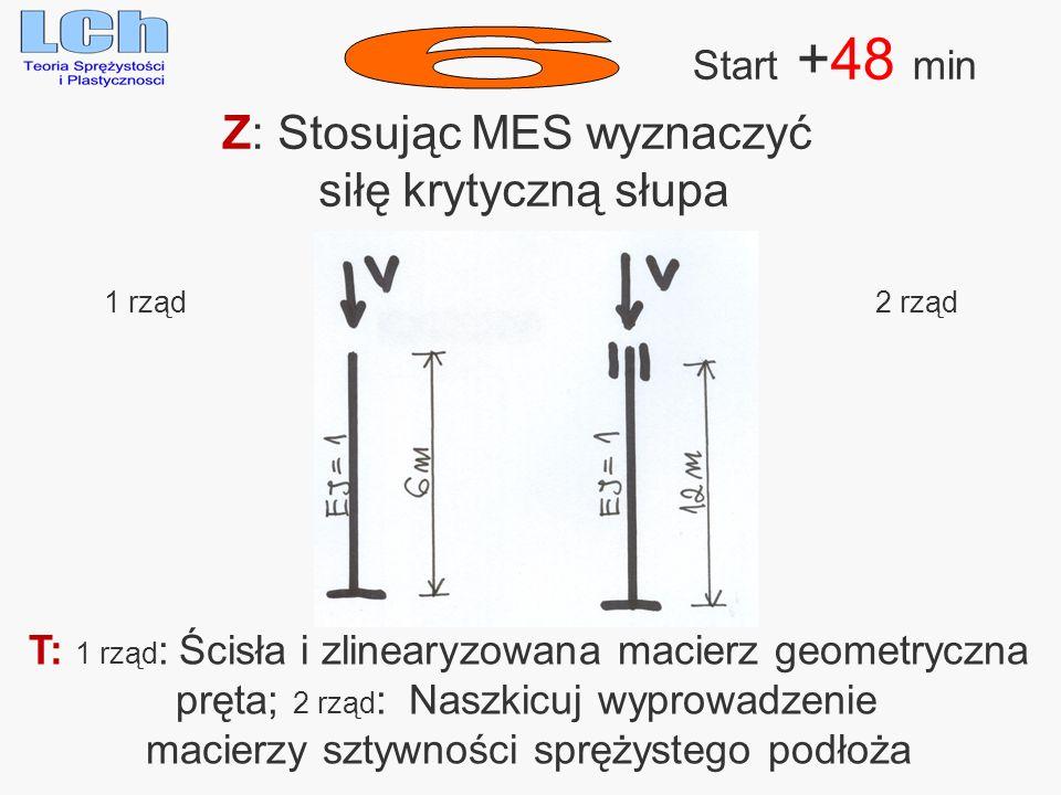 6 Z: Stosując MES wyznaczyć siłę krytyczną słupa Start +48 min