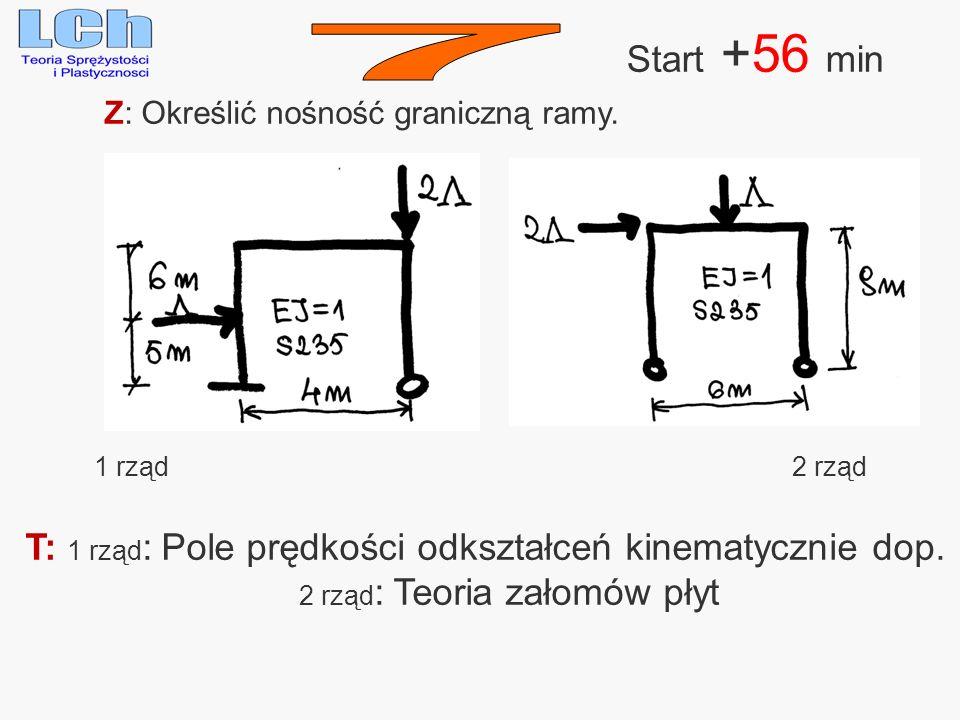 Start +56 min 7. Z: Określić nośność graniczną ramy. 1 rząd. 2 rząd. T: 1 rząd: Pole prędkości odkształceń kinematycznie dop.