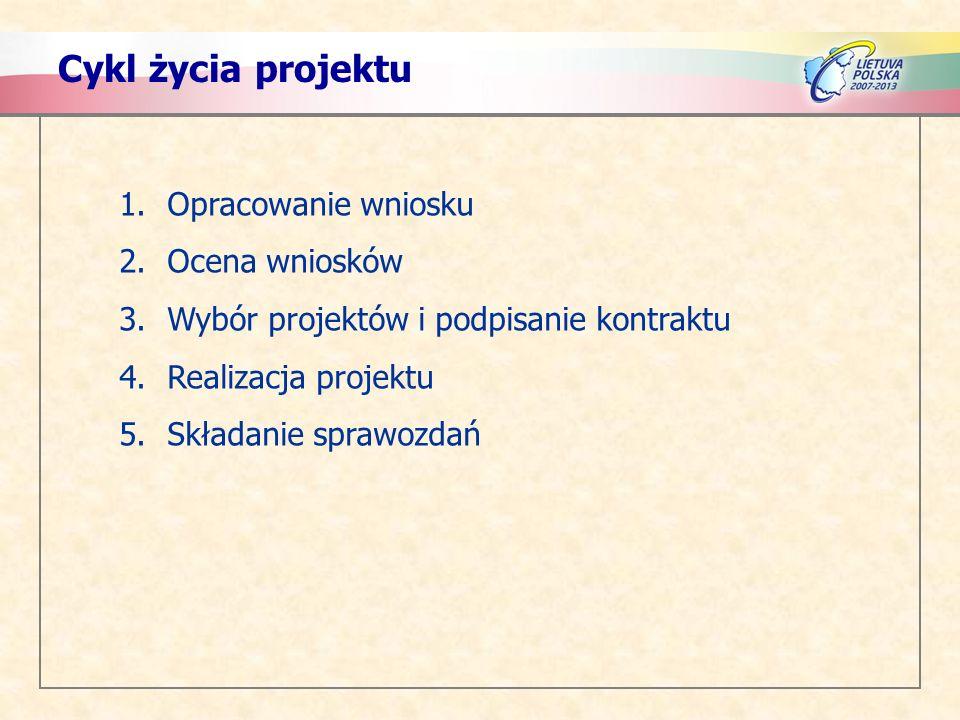 Cykl życia projektu Opracowanie wniosku Ocena wniosków