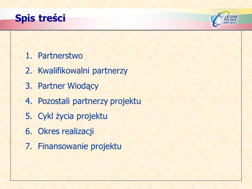 Spis treści Partnerstwo Kwalifikowalni partnerzy Partner Wiodący