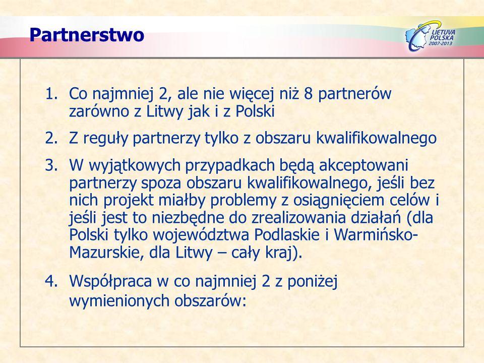 Partnerstwo Co najmniej 2, ale nie więcej niż 8 partnerów zarówno z Litwy jak i z Polski. Z reguły partnerzy tylko z obszaru kwalifikowalnego.