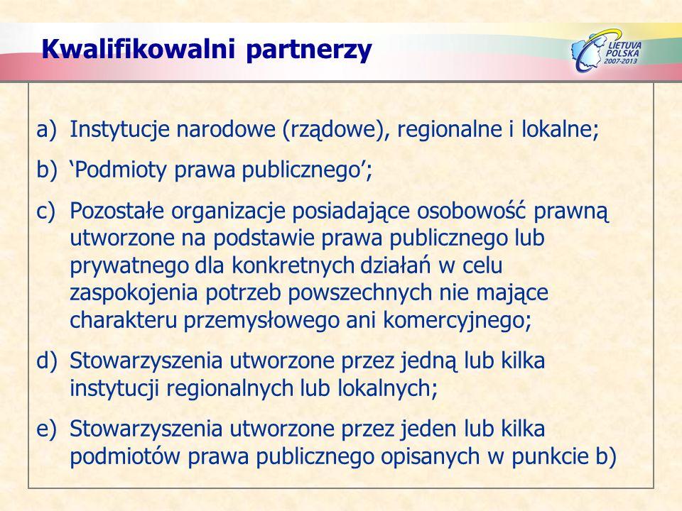 Kwalifikowalni partnerzy