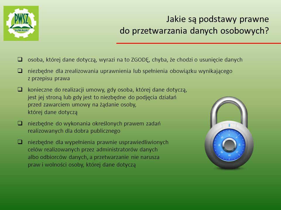 Jakie są podstawy prawne do przetwarzania danych osobowych
