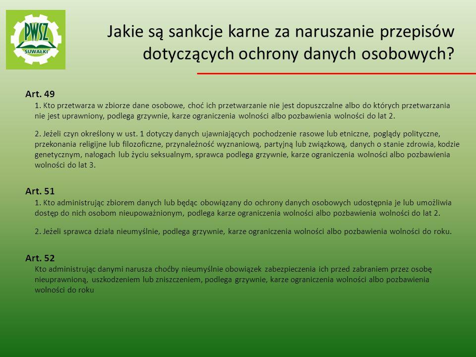Jakie są sankcje karne za naruszanie przepisów dotyczących ochrony danych osobowych