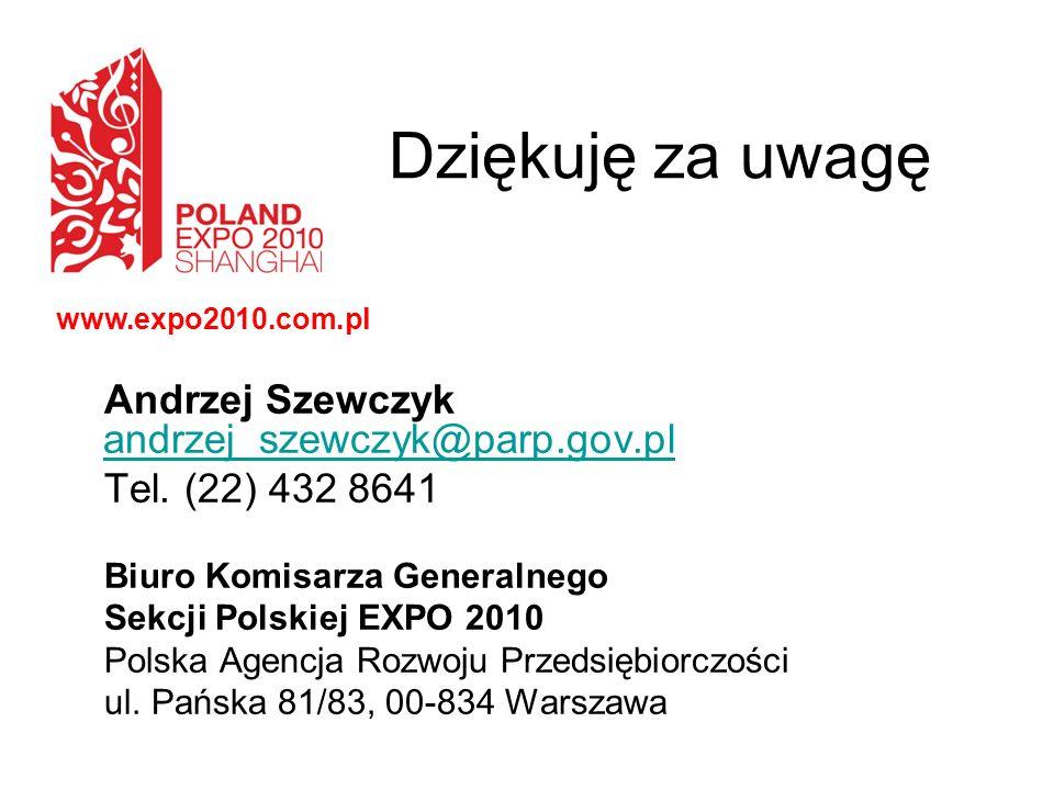 Dziękuję za uwagę Andrzej Szewczyk andrzej_szewczyk@parp.gov.pl