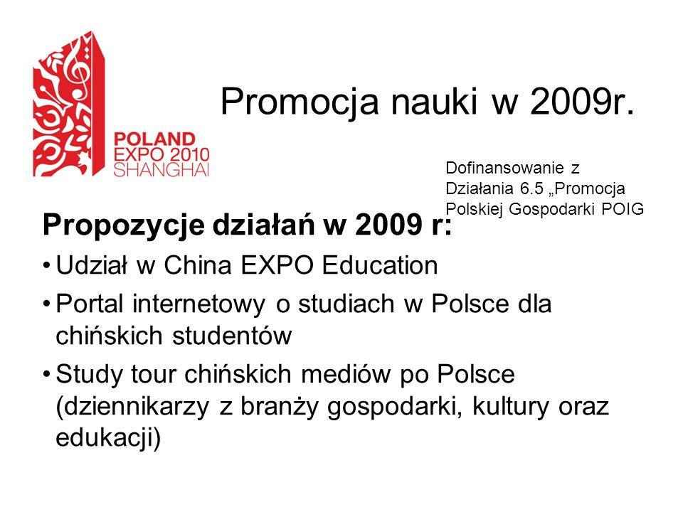Promocja nauki w 2009r. Propozycje działań w 2009 r: